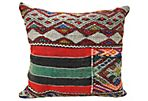 Red & Green Moroccan Wool Pillow
