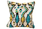 Moroccan Azilal Wool Pillow, turquoise