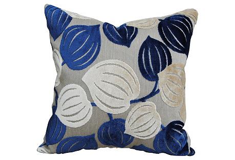 Blue & Ivory Cut Velvet Pillow