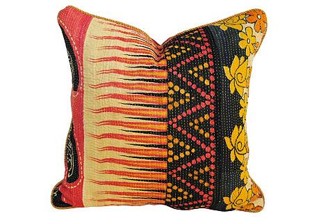 Indian Kantha Pillow, Pink/Black/Gold