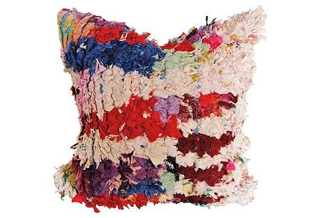 Boucherouite Rug Pillow, Red/Blue