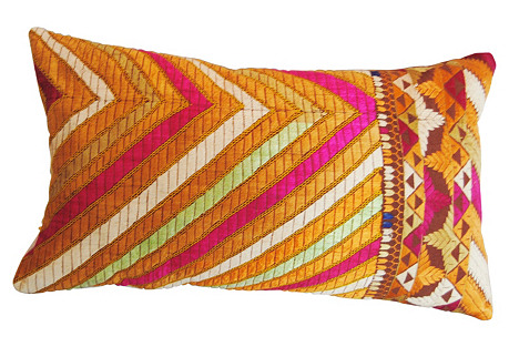 Phulkari Bagh Pillow, Multi Stripes
