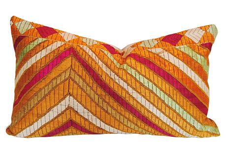 Phulkari Bagh Custom Pillow, Stripes