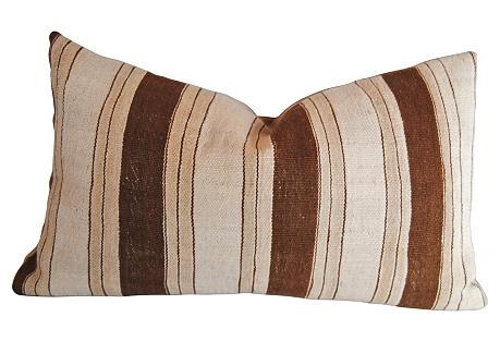 Moroccan Wool Pillow w/Brown Stripes