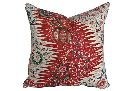 French Cotton Designer Textile Pillow
