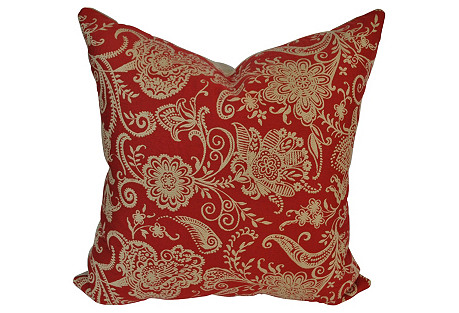 Red/Ivory Designer Textile  Pillow