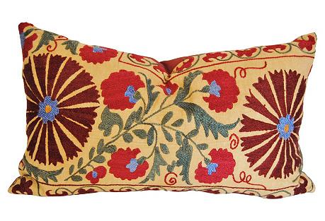 Custom Uzbedistan Floral Pillow