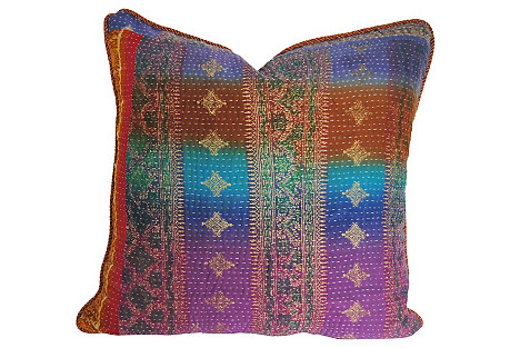 Custom Kantha Pillow, Purple/Blue