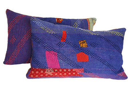 Purple Kantha Pillows w/Patches, Pair