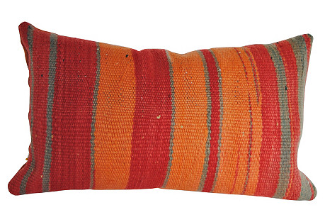 Moroccan Wool Pillow Apricot/Rose