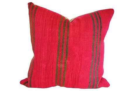 Moroccan Custom Wool Pillow, Fuchsia