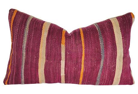 Moroccan Wool Pillow, Multi Stripes