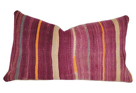 Purple Handloomed Wool Moroccan Pillow