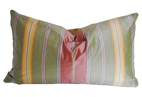 Custom Silk Stripe Pillow, Green/Pink