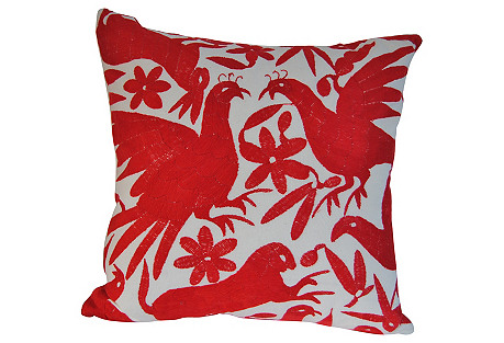 Custom Mexican Otomi Pillow, Red