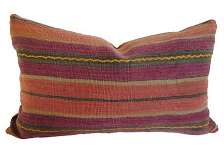 Moroccan Wool Pillow, Salmon/Purple