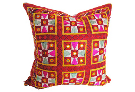 Indian Embroidered Pillow, Mirrors