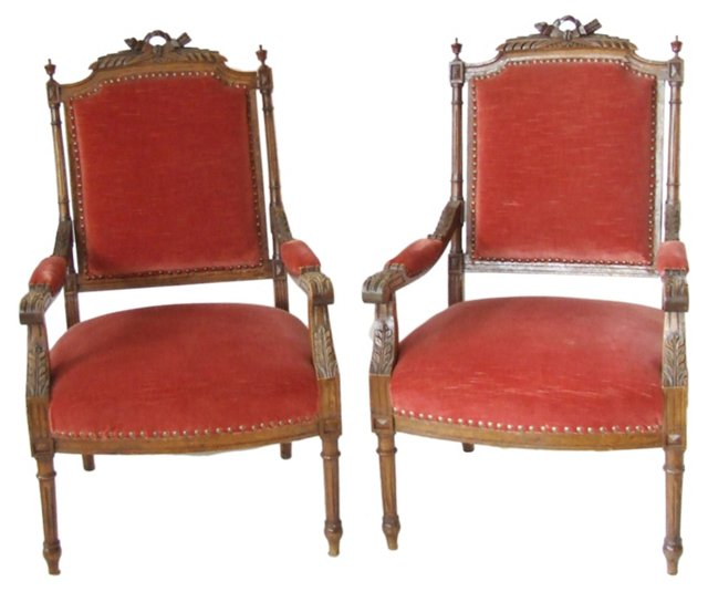 Antique European Walnut Chairs, Pair