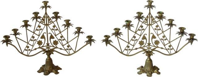 Brass Candelabras, Pair
