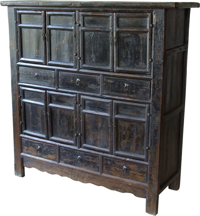 18th-C. Chinese Black Armoire
