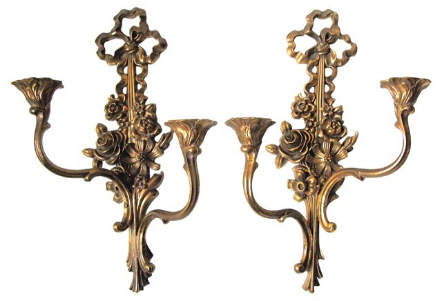 Syroco Candle Sconces, Pair