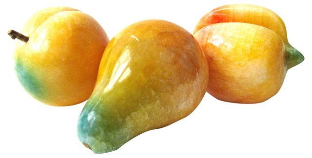 Carved Stone Fruit, 3 Pcs