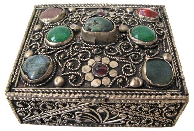 Jeweled Silver Box
