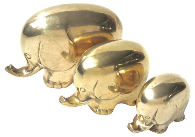Solid Brass Elephants, Set of 3