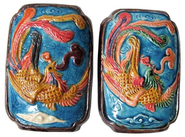 Chinese Phoenix Wall Tiles, Pair