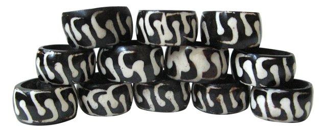 African Bone Napkin Rings, Set of 12