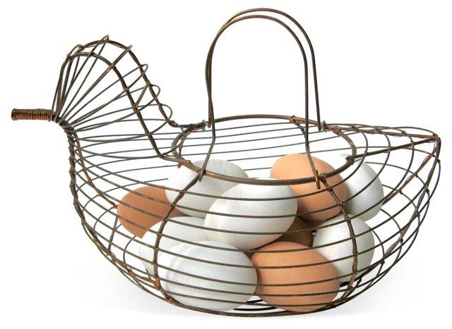 Copper Wire Hen Basket w/ Eggs