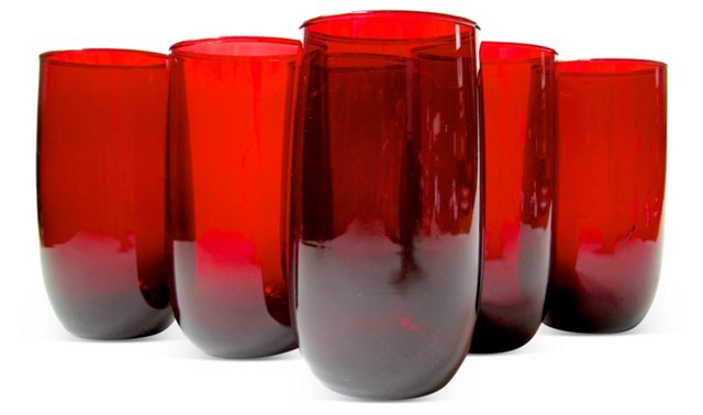 Ruby Red Glass Tumblers, S/6