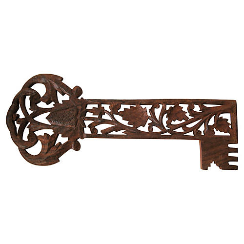 Carved Wood Decorative Key