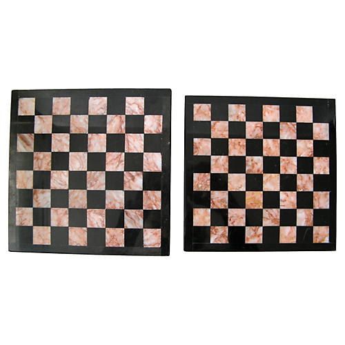 Marble Checkerboard Trivets, Pair