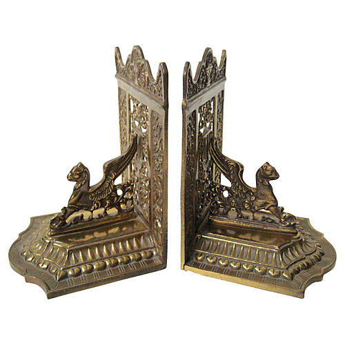 1920s Brass Griffon Bookends