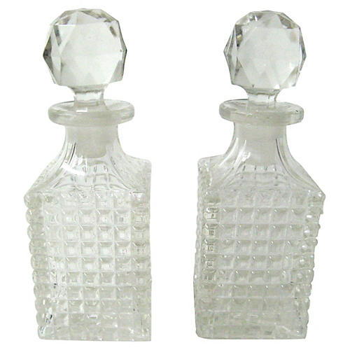 Quilted Glass Vanity Bottles, Pair