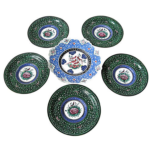 Persian Enamel Plates, S/6