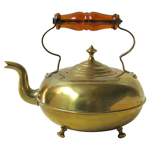 Brass Teakettle w/ Glass Handle