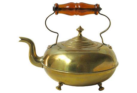 Brass Teakettle w/ Glass Handle