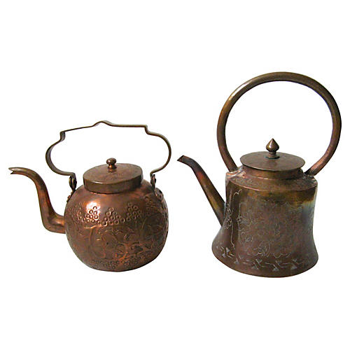 Chinese Copper Teapots, Pair