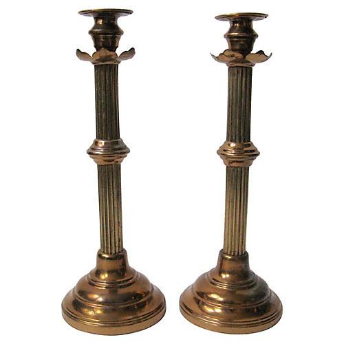 Antique Brass Column Candlesticks, Pair