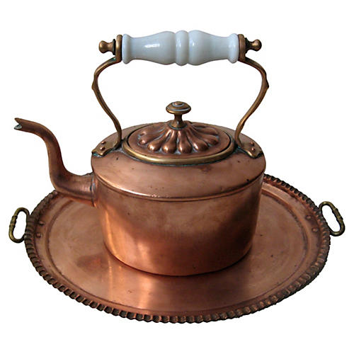 Chinese Copper Kettle & Tray
