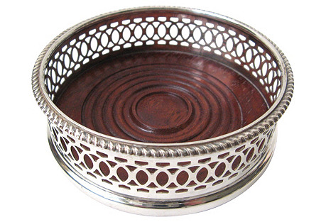 English Silver Plate Wine Coaster