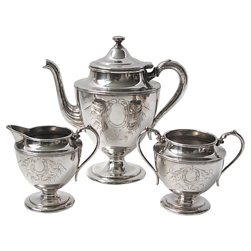 Hand-Engraved Tea Service, 3-Pcs