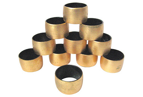 Gilt Lacquer Napkin Rings, S/11