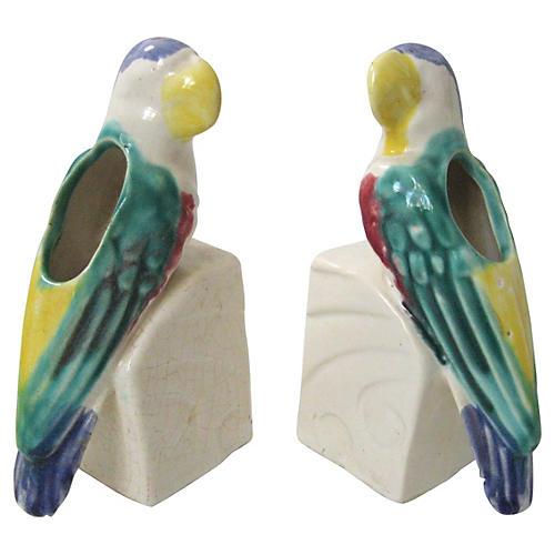 Parrot Bud Vases, Pair