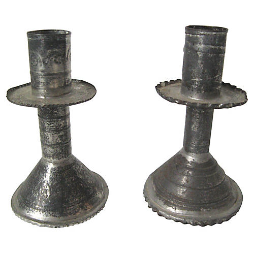 Mexican Weighted Tin Candlesticks, Pair