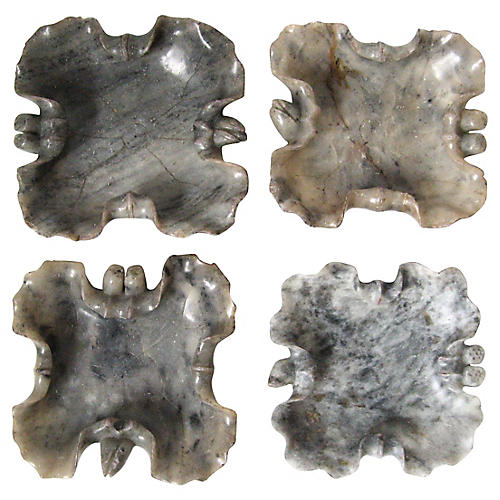 Carved Soapstone Bowls, S/4