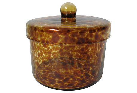 Tortoise Glass Lidded Jar