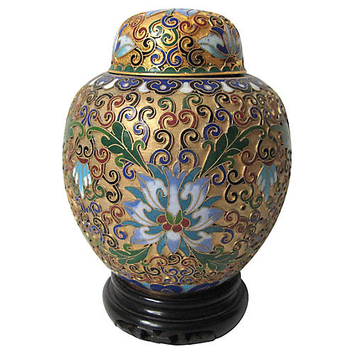Chinese Champleve Jar on Stand
